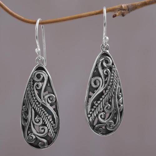 Sterling Silver Dangle Earrings Handmade in Indonesia 'Fern Drops'