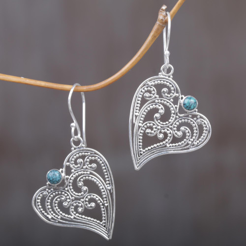 Sterling Silver and Reconstituted Turquoise Dangle Earrings 'Leaf Heart'