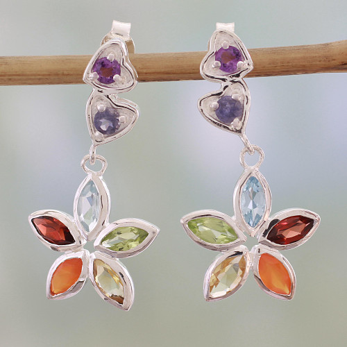 Multi Gemstone and Sterling Silver Floral Heart Earrings 'Floral Hearts'