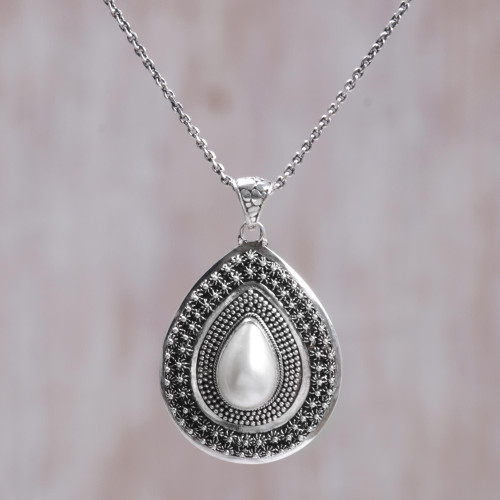 Artisan Crafted Sterling Silver and Cultured Pearl Necklace 'Pearl of Hope'