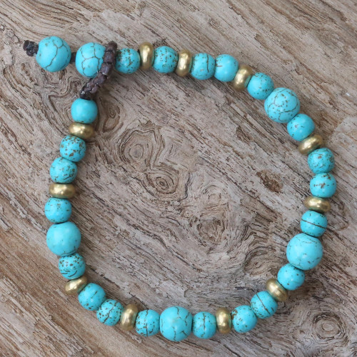 Brass and Calcite Beaded Bracelet from Thailand 'Beautiful Thai in Light Blue'