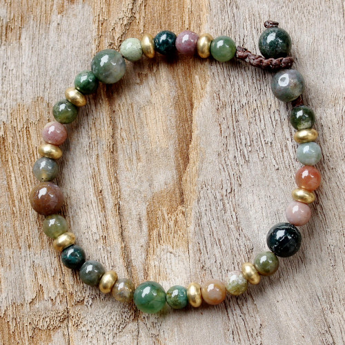Agate and Brass Beaded Bracelet from Thailand 'Beautiful Thai'