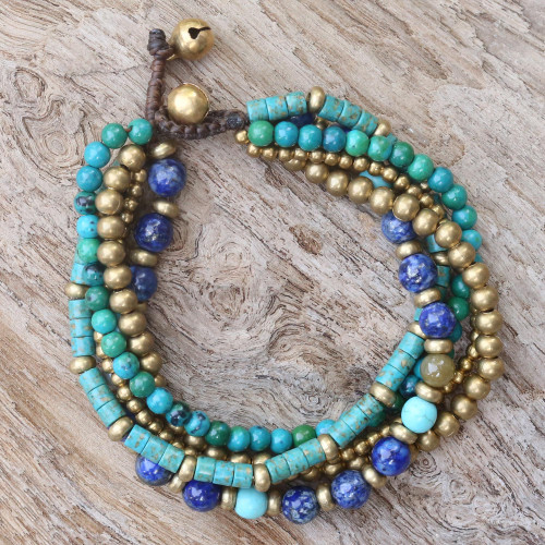 Multi Gemstone Beaded Bracelet from Thailand 'Freedom of Expression in Blue'