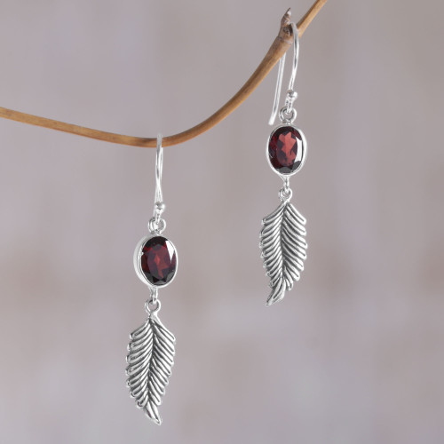 Balinese 925 Sterling Silver Feather Earrings with Garnet 'Passionate Hope'
