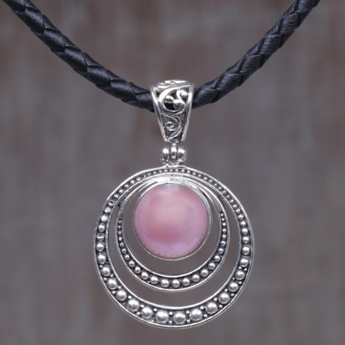 Dyed Pink Cultured Pearl Pendant Necklace from Indonesia 'Crescent Gleam in Pink'