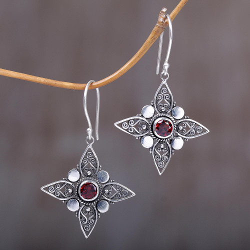 Sterling Silver Garnet Dangle Earrings from Indonesia 'Four-Pointed Stars'