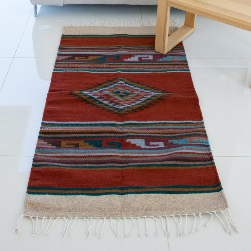 Hand Woven Geometric Wool Area Rug from Mexico 'Spice Diamond'