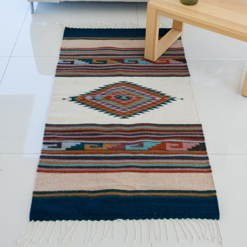 Hand Woven Multicolored Geometric Wool Area Rug from Mexico 'Antique White Diamond'