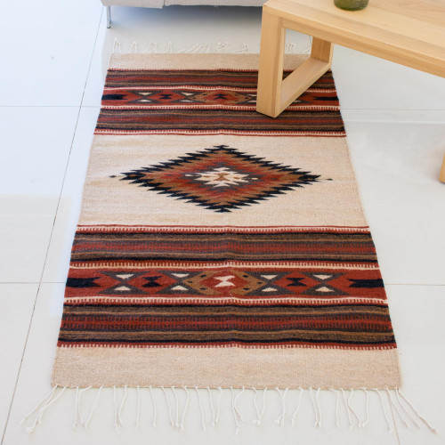 Hand Woven Geometric Wool Area Rug in Spice from Mexico 'Oaxacan Land'