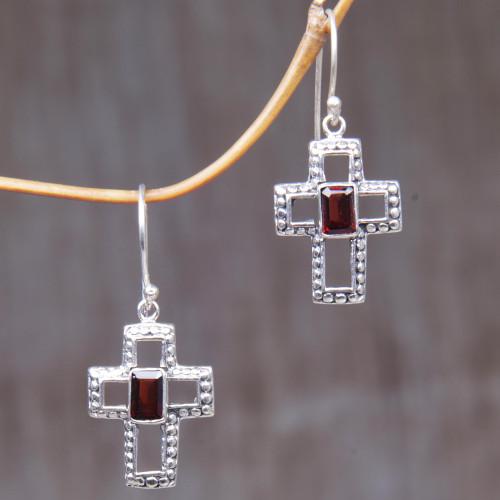 Sterling Silver and Garnet Cross Dangle Earrings Indonesia 'Faith Everlasting'