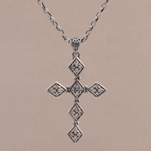 Sterling Silver Cross Pendant Necklace from Indonesia 'Cross of Diamonds'