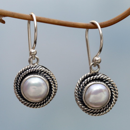 Cultured Pearl Round Dangle Earrings from Indonesia 'Nest of Chains in White'
