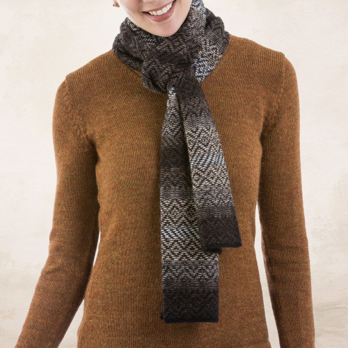 100 Alpaca Scarf in Mahogany and Eggshell from Peru 'Mahogany Brown Andean Pride'
