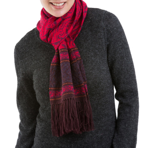 Alpaca Blend Knit Scarf in Crimson and Boysenberry from Peru 'Crimson Andes'