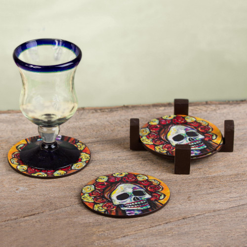 Pinewood Coasters with Base Skull Set of 4 from Mexico 'Skeleton Bride'