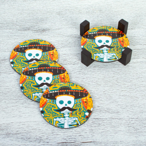 Day of the Dead Decoupage Pinewood Coasters from Mexico 'Mustachioed Skull'