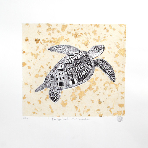 Signed Etched Print of a Sea Turtle from Mexico 'Turtle, Go to the Shore'