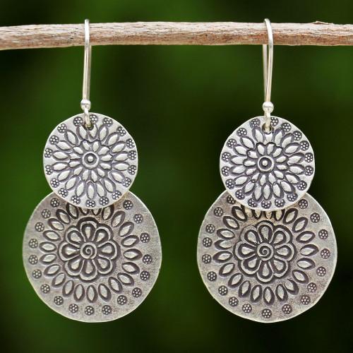 Handmade Karen Silver Dangle Earrings from Thailand 'Karen Sunflowers'