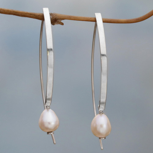 Sterling Silver and Cultured Pearl Drop Earrings 'Ever After'