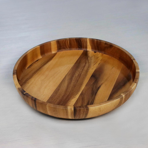 Artisan Crafted Natural Wood Serving Bowl from Thailand 'Harmonious Nature'