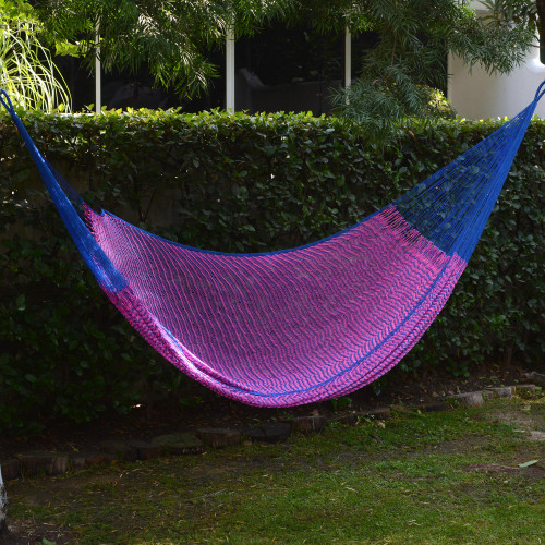Hand Woven Pink and Blue Nylon Hammock from Mexico Double 'Berry Blossom'