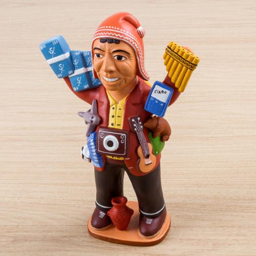 Ceramic Sculpture of Andean God of Abundance 'Smiling Ekeko'