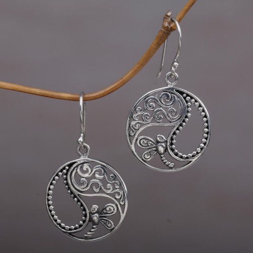 Sterling Silver Dragonfly Dangle Earrings from Bali 'Natural Balance'