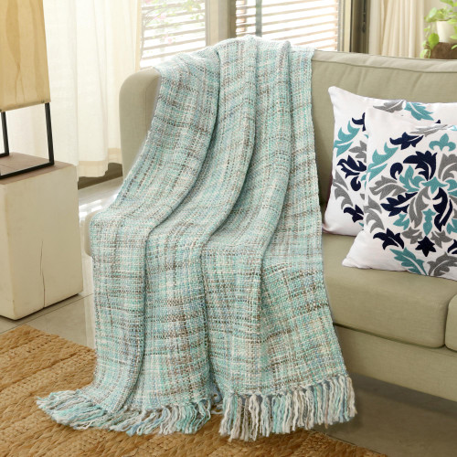 Pastel Green Throw Blanket with Fringes from India 'Mint Beauty'