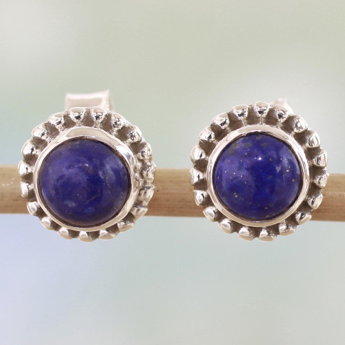 Lapis Lazuli and Sterling Silver Stud Earrings from India 'Blue Globe'