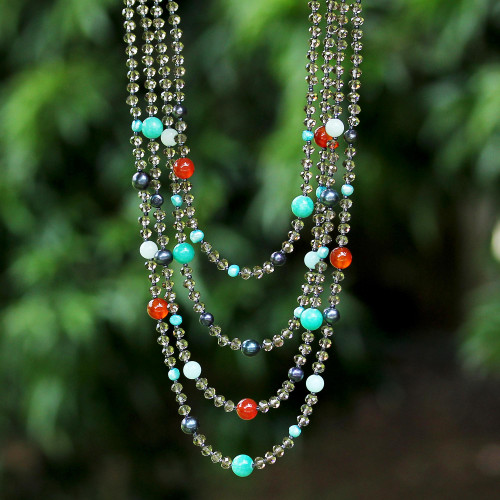 Beaded Gem Necklace with Cultured Pearls 'Changing Seasons'