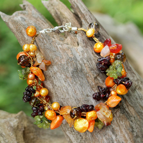 Colorful Beaded gemstone and Cultured Pearl Bracelet 'Fruits of Summer'