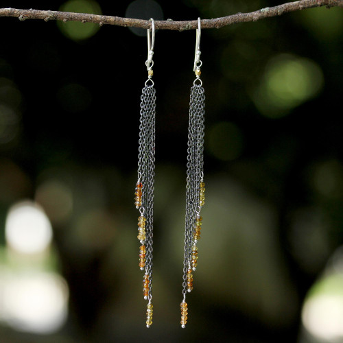 Yellow Tourmaline Waterfall Earrings with Silver Chains 'On the Fringe'