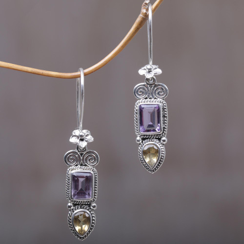 Amethyst and Citrine Floral Dangle Earrings from Bali 'Colorful Roots'