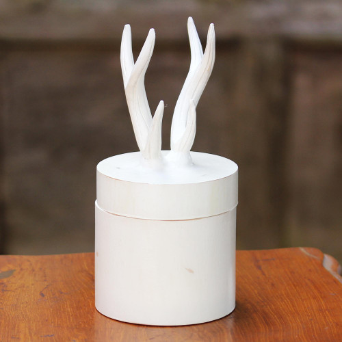 Hand Crafted White Decorative Box with Antlers from Thailand 'Antlers'