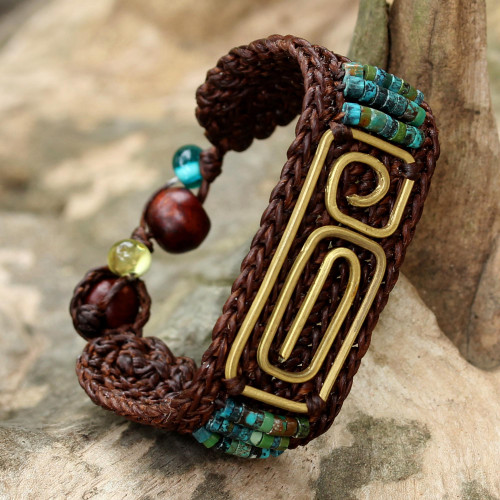 Brown Brass and Reconstituted Turquoise Wristband Bracelet 'Siam Fortress'