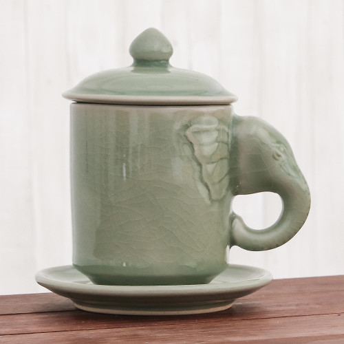 Celadon Ceramic Elephant Cup and Saucer from Thailand 'Chiang Mai Elephant'
