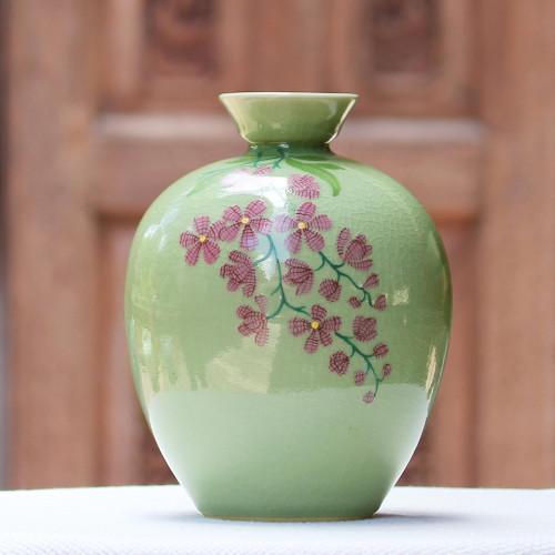 Hand Crafted Celadon Ceramic Floral Vase from Thailand 'Round Garden'