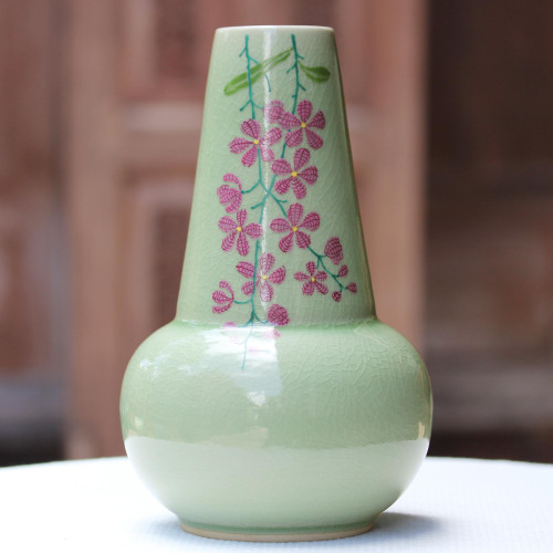Hand Crafted Celadon Ceramic Floral Vase from Thailand 'Hanging Flowers'