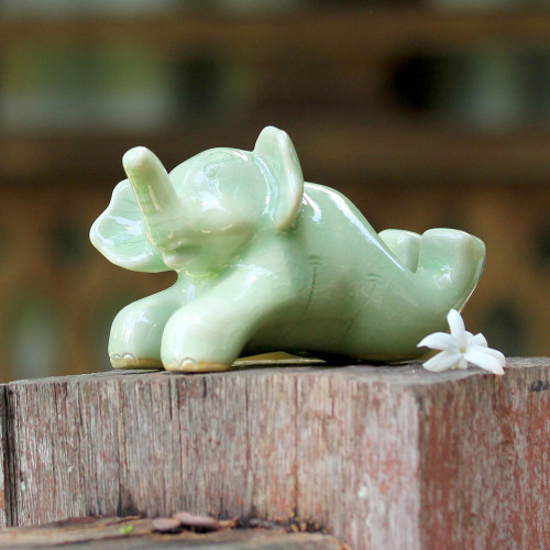 Celadon Ceramic Sculpture of an Elephant from Thailand 'Funny Elephant'