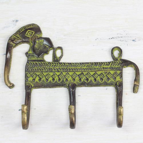 Antiqued Brass Indian Elephant Theme 3-Hook Coat Rack 'Helpful Elephant'