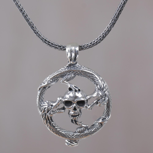 Sterling Silver Dragon and Skull Pendant Necklace from Bali 'Dragon Skull'