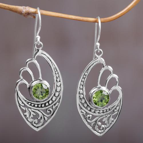 Balinese 925 Sterling Silver Earrings with Peridot 'Green Wings'