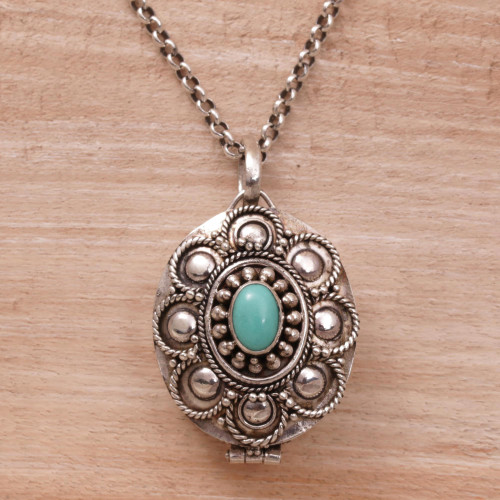 Sterling Silver and Reconstituted Turquoise Locket Necklace 'Island Bloom'