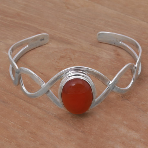 Carnelian and Sterling Silver Cuff Bracelet from Indonesia 'DNA in Scarlet'