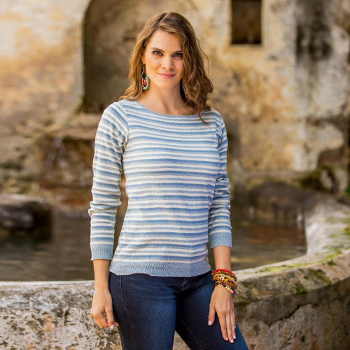 Women's Blue and Ivory Striped Soft Cotton Pullover Sweater 'Wedgwood Horizon'