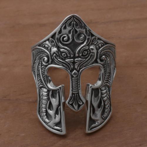 Sterling Silver Men's Dragon Balinese Warrior Ring 'Brawijaya Mask'
