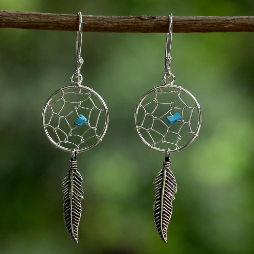 Sterling Silver Dream Catcher Dangle Earrings from Thailand 'Catching a Dream'