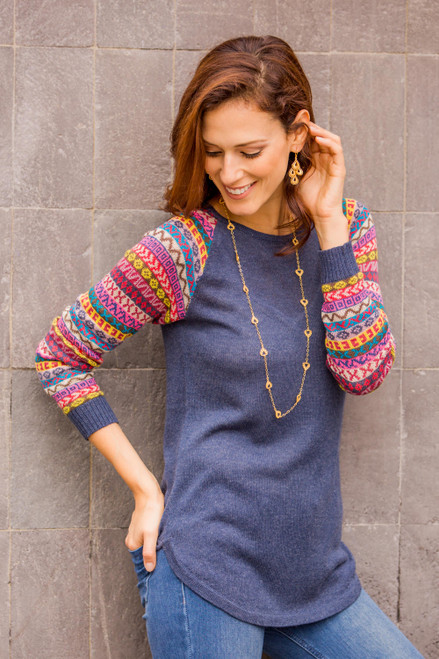 Azure Blue Tunic Sweater with Multi Color Patterned Sleeves 'Andean Walk in Azure'