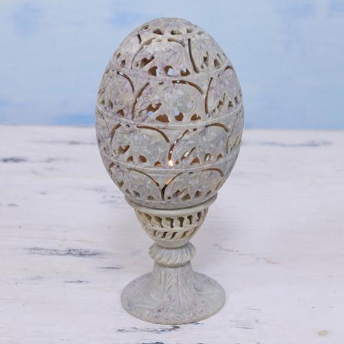 Soapstone Candleholder with Jali Elephant Motifs from India 'Elephant Egg'