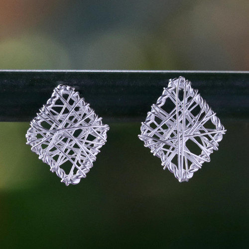 Wrapped Sterling Silver Stud Earrings Crafted in Thailand 'Rhombus Wrap'